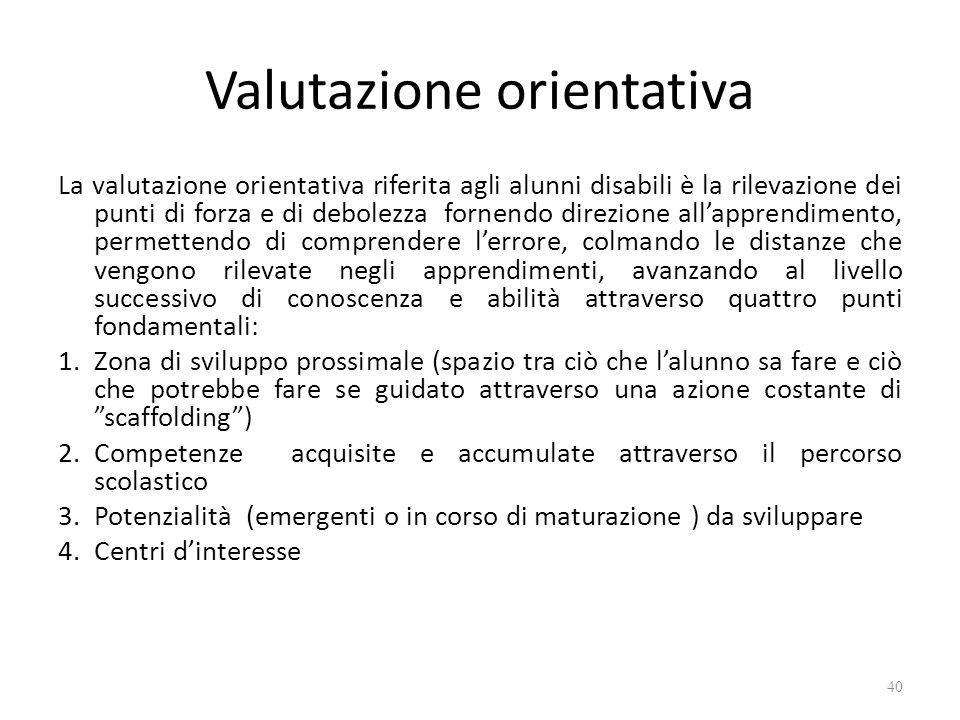 Valutazione orientativa
