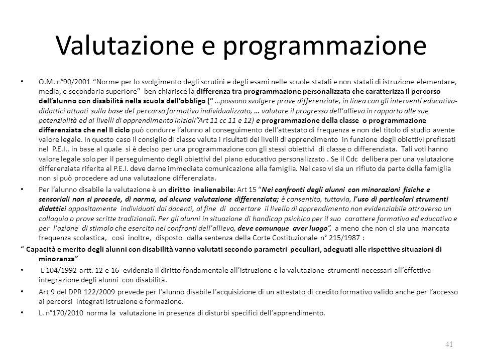 Valutazione e programmazione