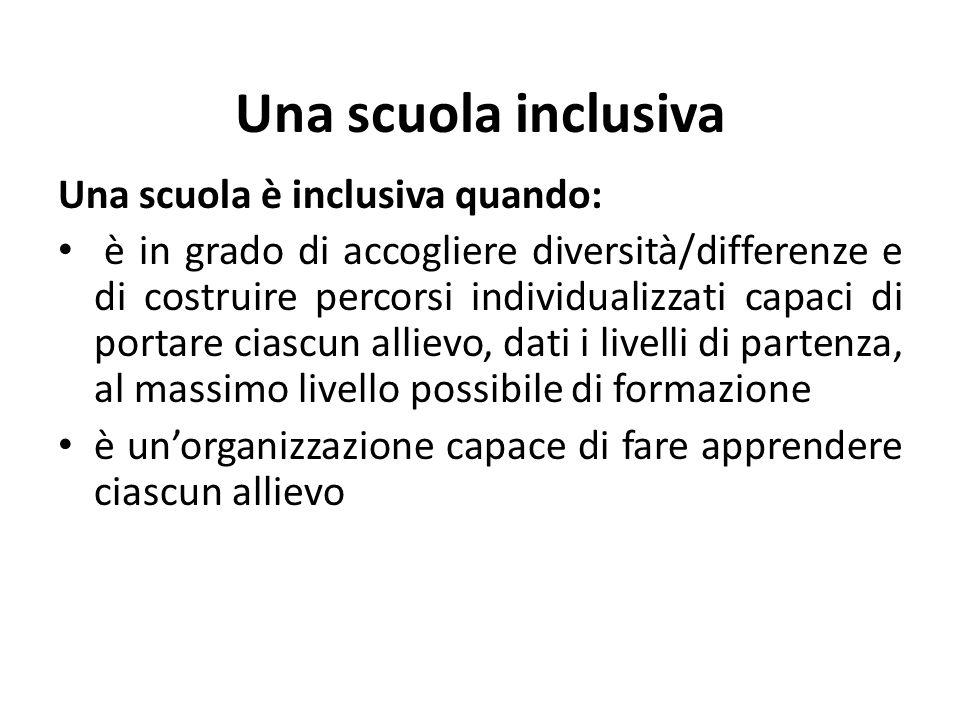 Una scuola inclusiva Una scuola è inclusiva quando: