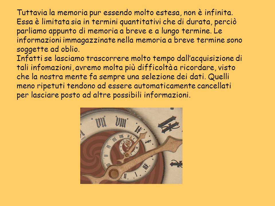 Tuttavia la memoria pur essendo molto estesa, non è infinita