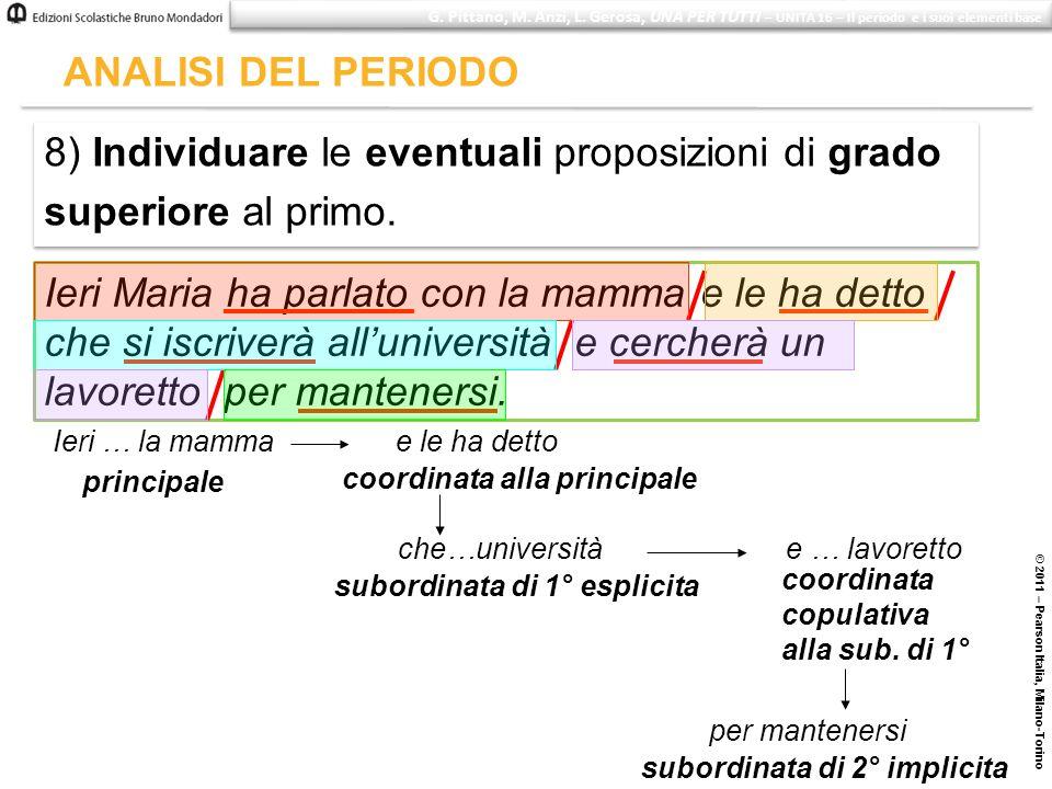 8) Individuare le eventuali proposizioni di grado superiore al primo.
