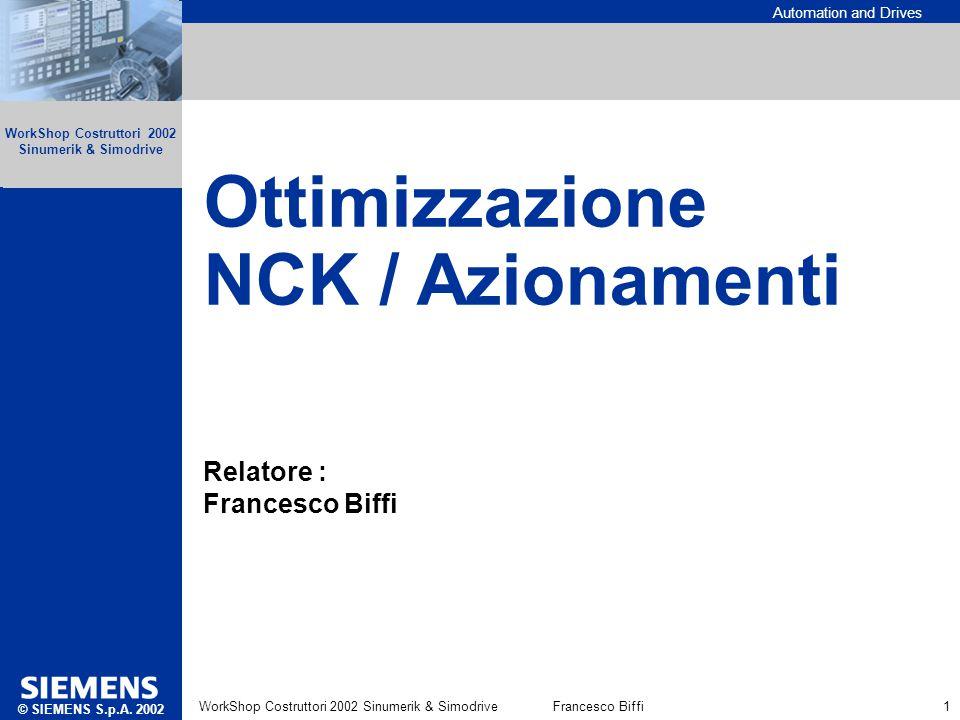 Ottimizzazione NCK / Azionamenti