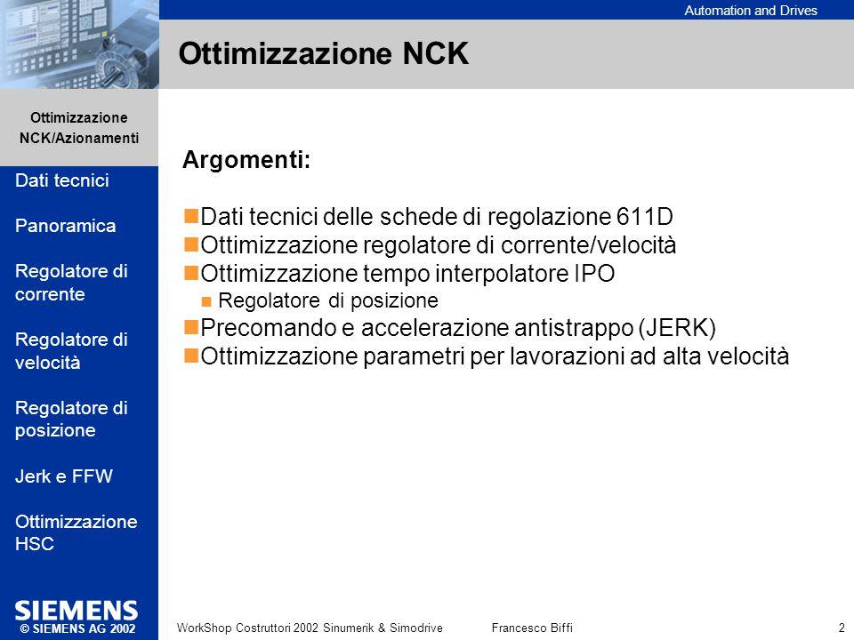 Ottimizzazione NCK Argomenti: