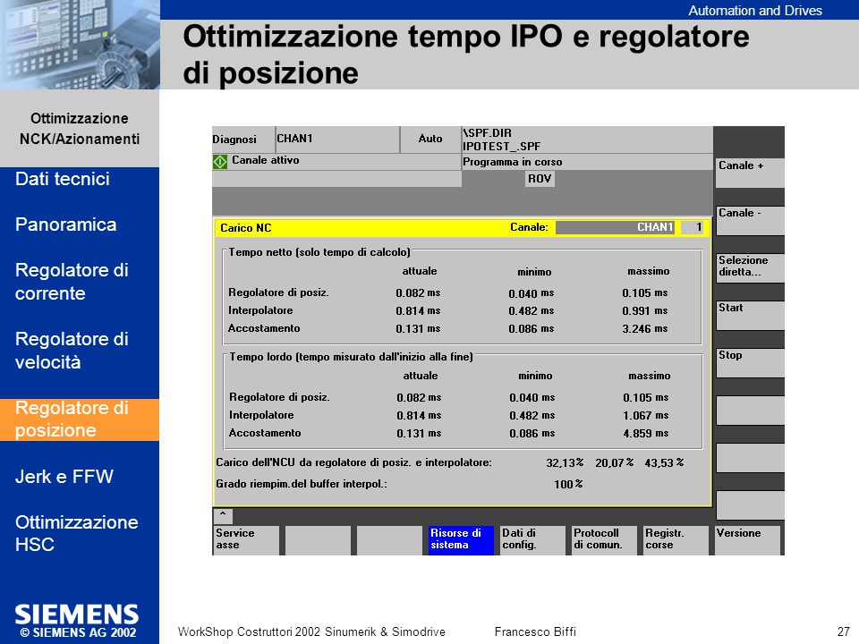 Ottimizzazione tempo IPO e regolatore di posizione