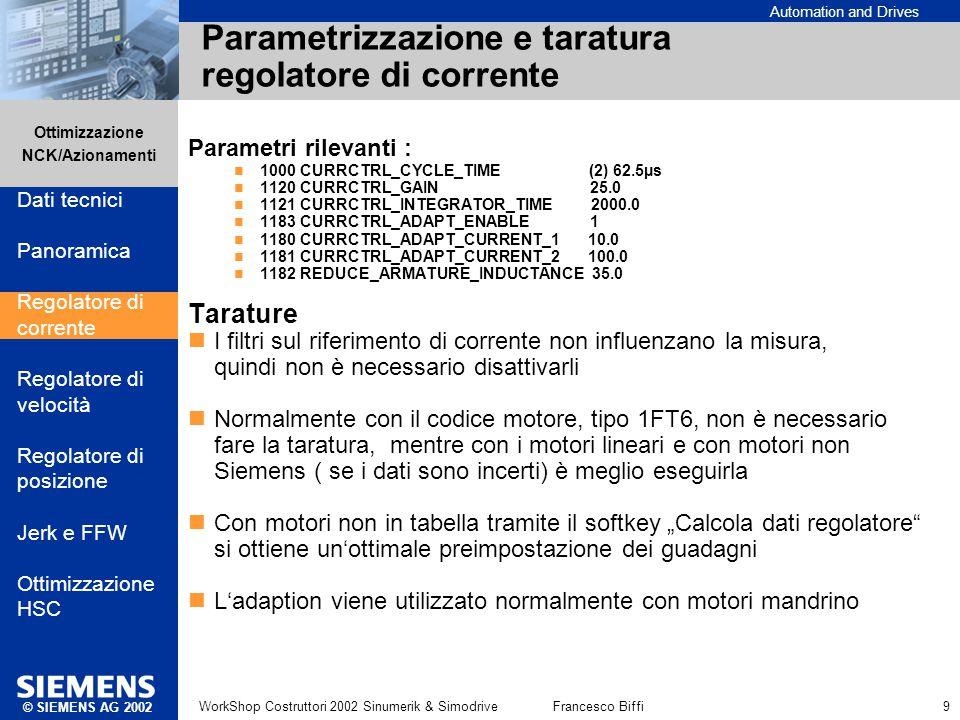 Parametrizzazione e taratura regolatore di corrente