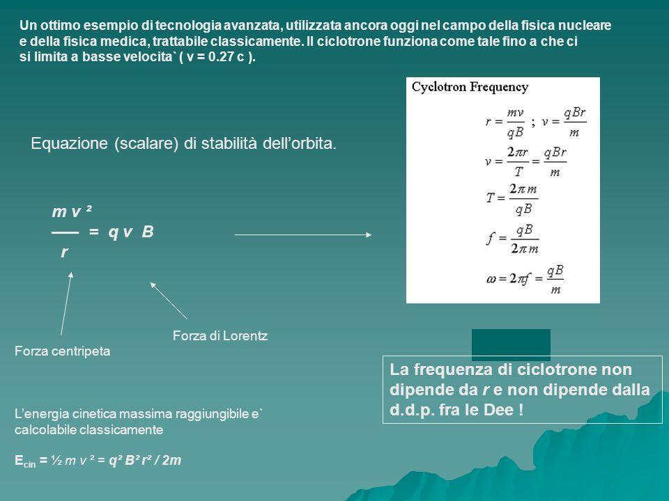 Equazione (scalare) di stabilità dell'orbita.