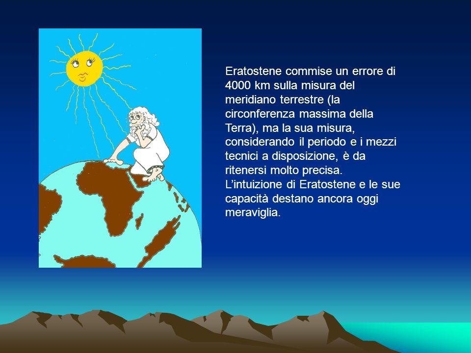 Eratostene commise un errore di 4000 km sulla misura del meridiano terrestre (la circonferenza massima della Terra), ma la sua misura, considerando il periodo e i mezzi tecnici a disposizione, è da ritenersi molto precisa.