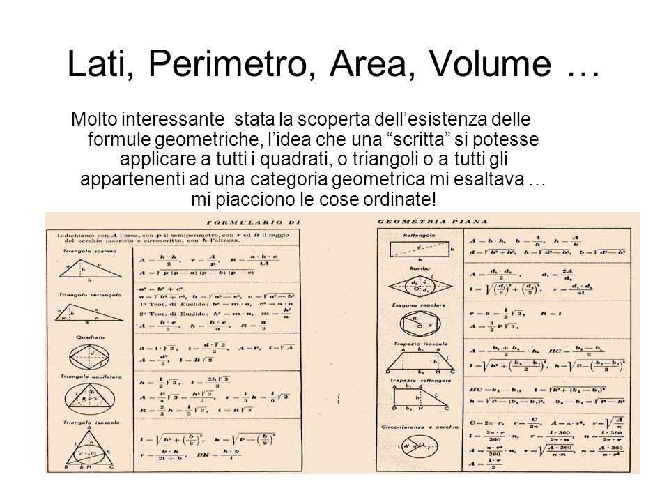 Lati, Perimetro, Area, Volume …