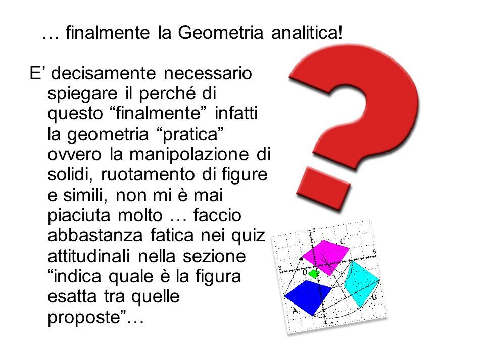 … finalmente la Geometria analitica!