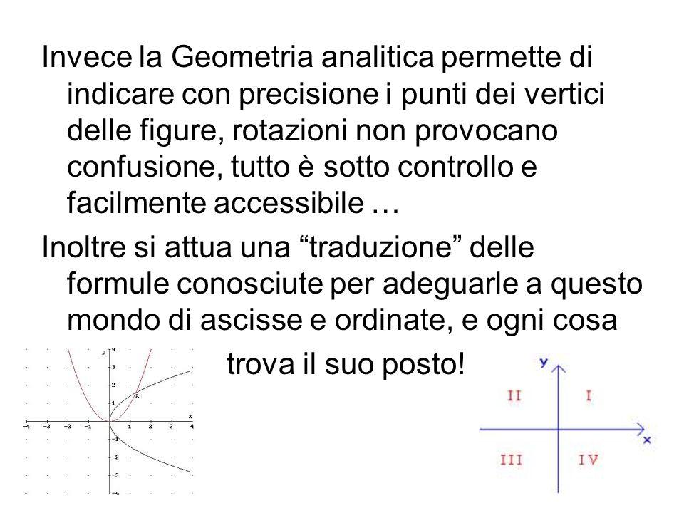 Invece la Geometria analitica permette di indicare con precisione i punti dei vertici delle figure, rotazioni non provocano confusione, tutto è sotto controllo e facilmente accessibile …