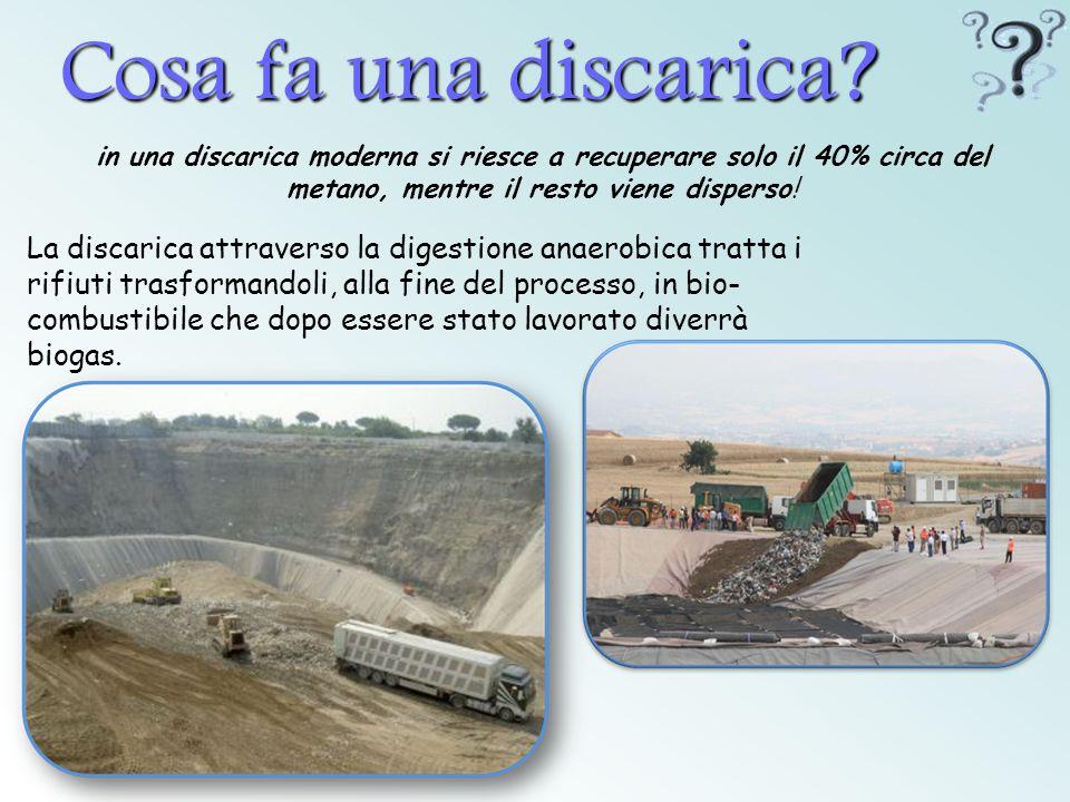 Cosa fa una discarica in una discarica moderna si riesce a recuperare solo il 40% circa del metano, mentre il resto viene disperso!