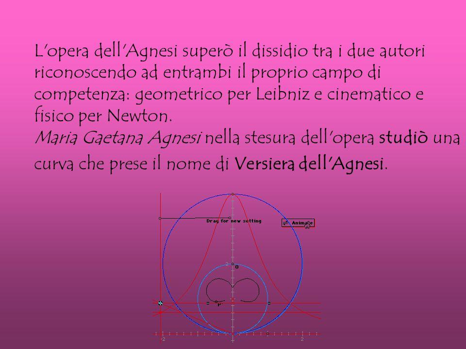 L opera dell Agnesi superò il dissidio tra i due autori riconoscendo ad entrambi il proprio campo di competenza: geometrico per Leibniz e cinematico e fisico per Newton.