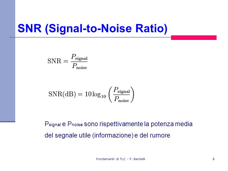 SNR (Signal-to-Noise Ratio)