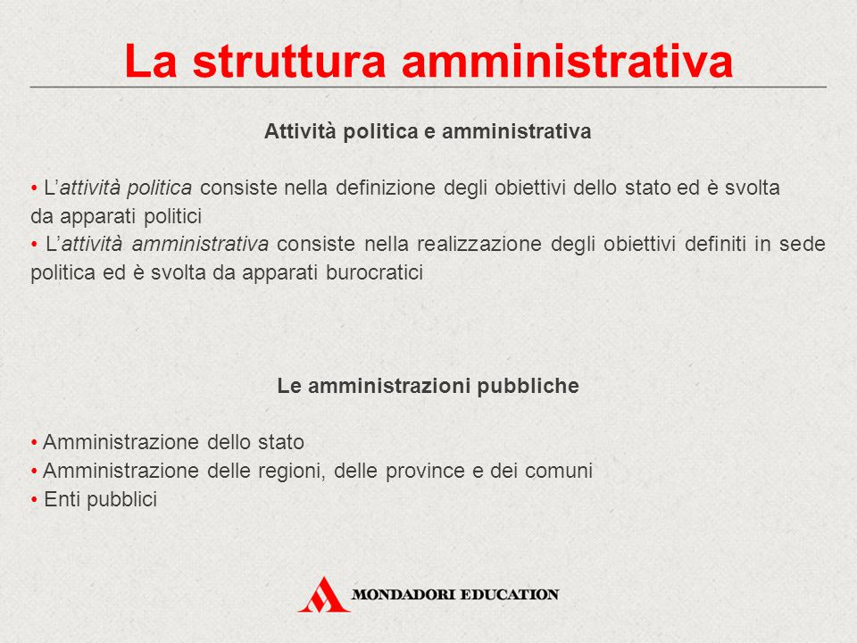 La struttura amministrativa