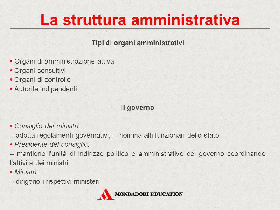 La struttura amministrativa Tipi di organi amministrativi