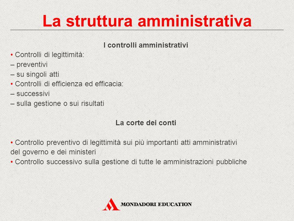 La struttura amministrativa I controlli amministrativi