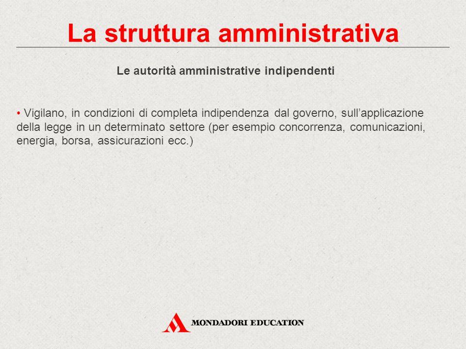 La struttura amministrativa Le autorità amministrative indipendenti
