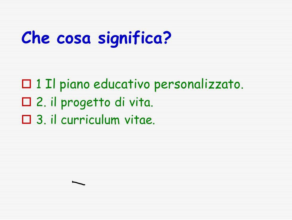 Che cosa significa 1 Il piano educativo personalizzato.