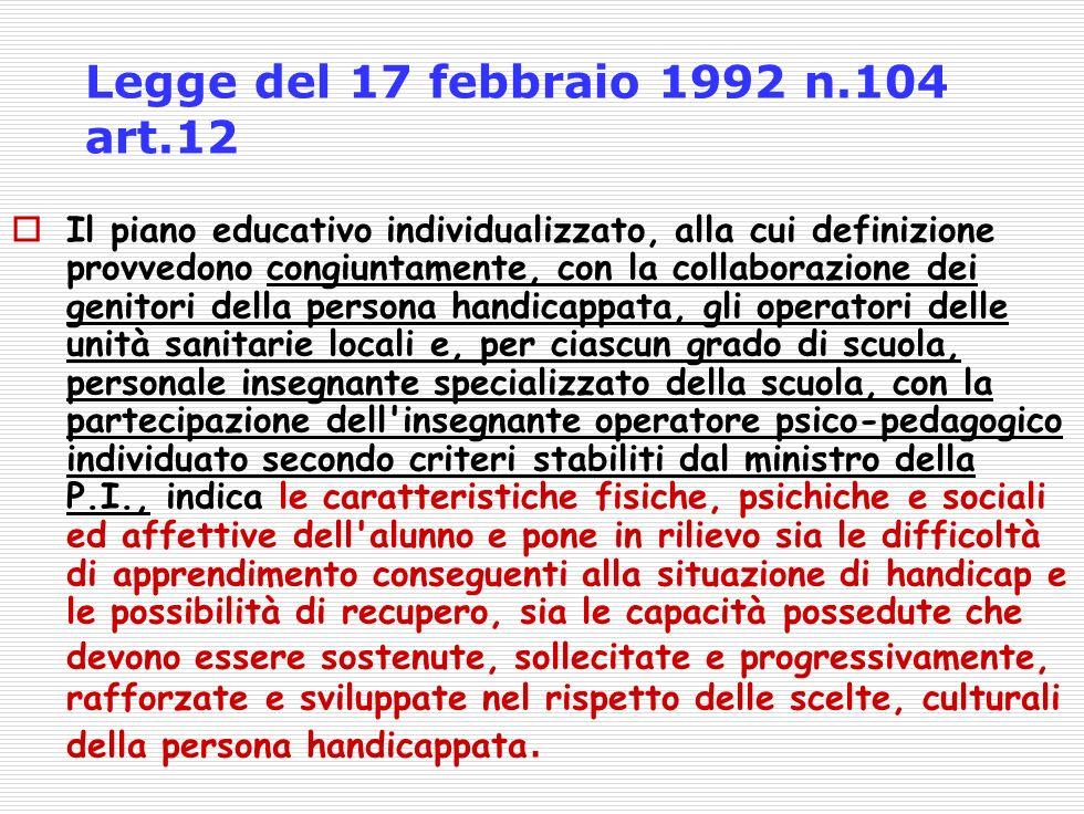 Legge del 17 febbraio 1992 n.104 art.12