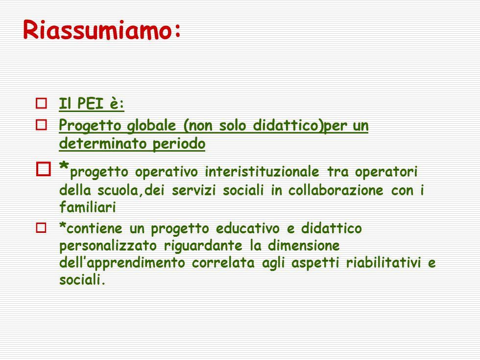 Riassumiamo: Il PEI è: Progetto globale (non solo didattico)per un determinato periodo.