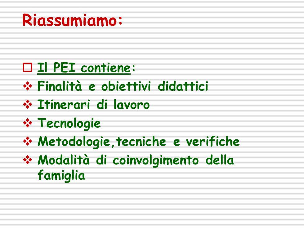 Riassumiamo: Il PEI contiene: Finalità e obiettivi didattici