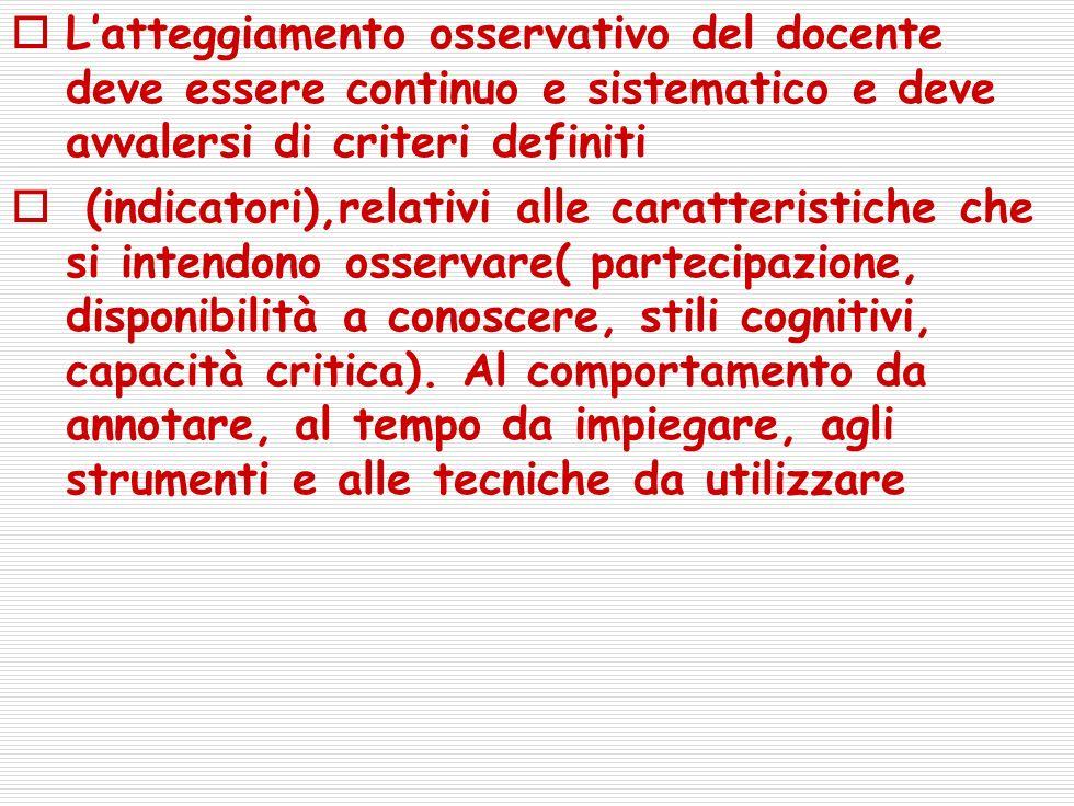 L'atteggiamento osservativo del docente deve essere continuo e sistematico e deve avvalersi di criteri definiti