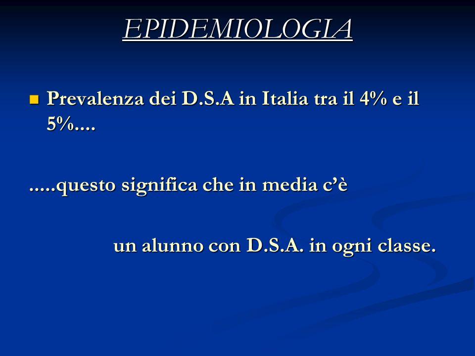 EPIDEMIOLOGIA Prevalenza dei D.S.A in Italia tra il 4% e il 5%....
