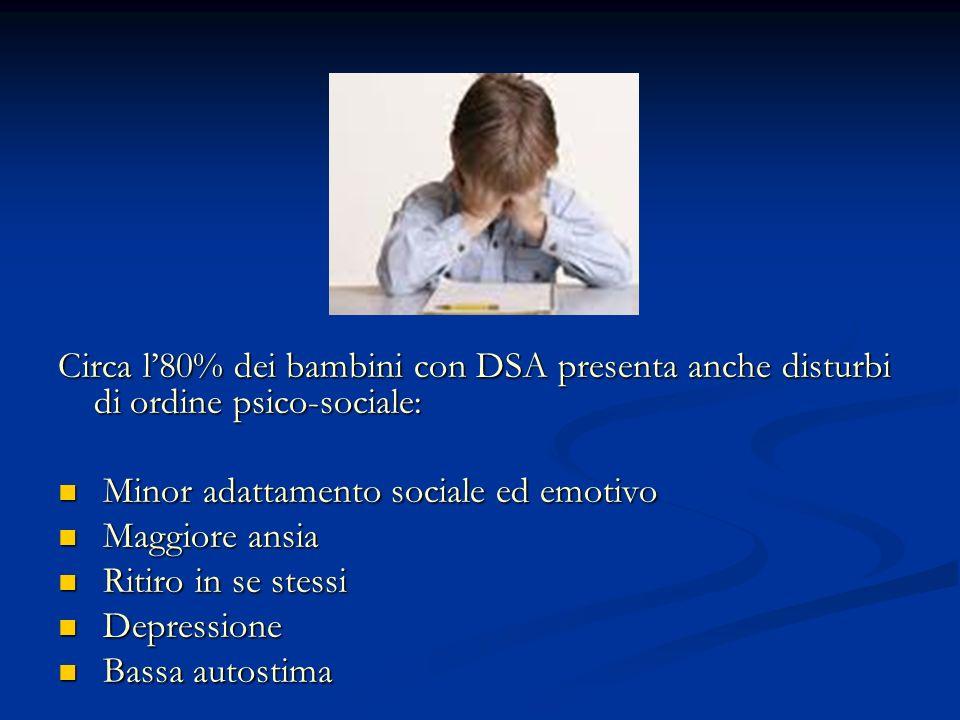 Circa l'80% dei bambini con DSA presenta anche disturbi di ordine psico-sociale: