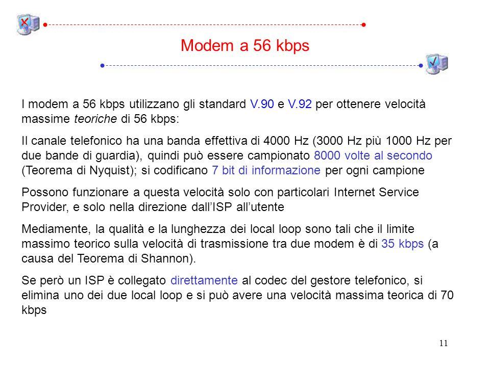 Modem a 56 kbps I modem a 56 kbps utilizzano gli standard V.90 e V.92 per ottenere velocità massime teoriche di 56 kbps: