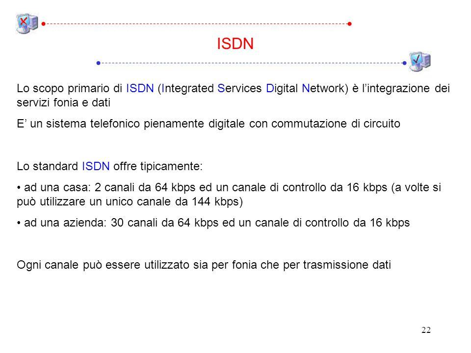 ISDN Lo scopo primario di ISDN (Integrated Services Digital Network) è l'integrazione dei servizi fonia e dati.