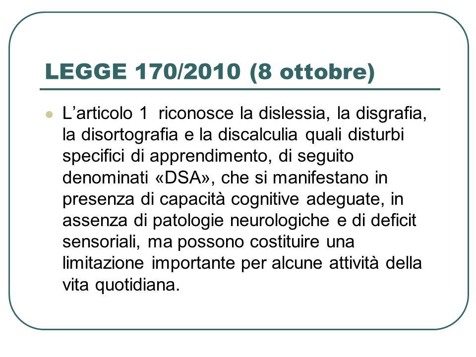 LEGGE 170/2010 (8 ottobre)