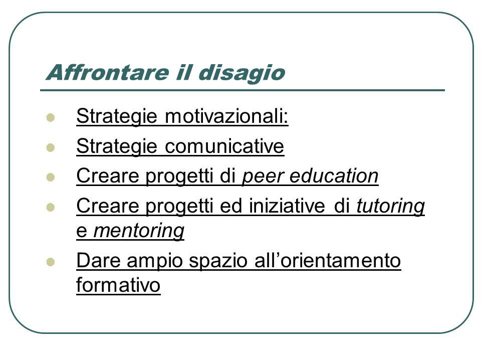 Affrontare il disagio Strategie motivazionali: Strategie comunicative