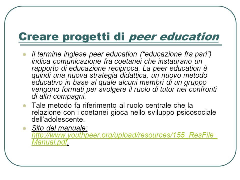 Creare progetti di peer education