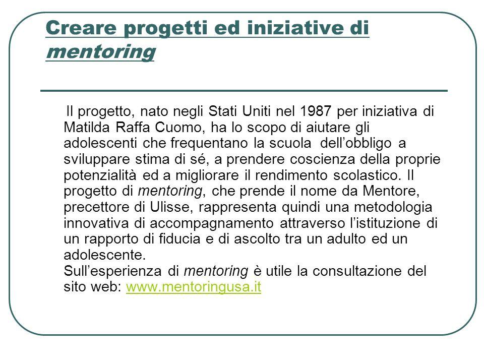 Creare progetti ed iniziative di mentoring