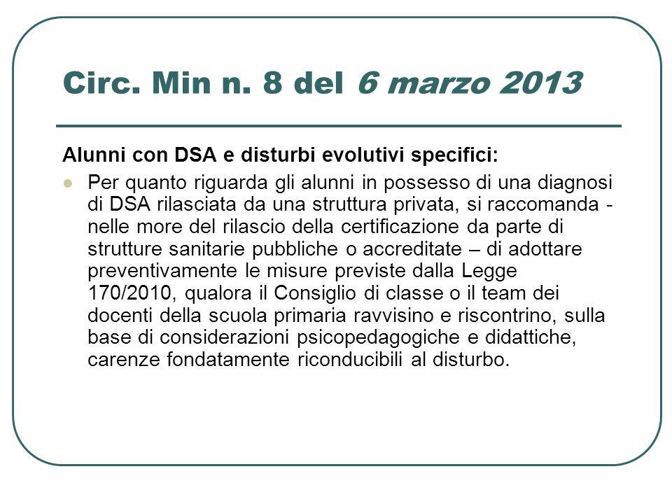Circ. Min n. 8 del 6 marzo 2013 Alunni con DSA e disturbi evolutivi specifici: