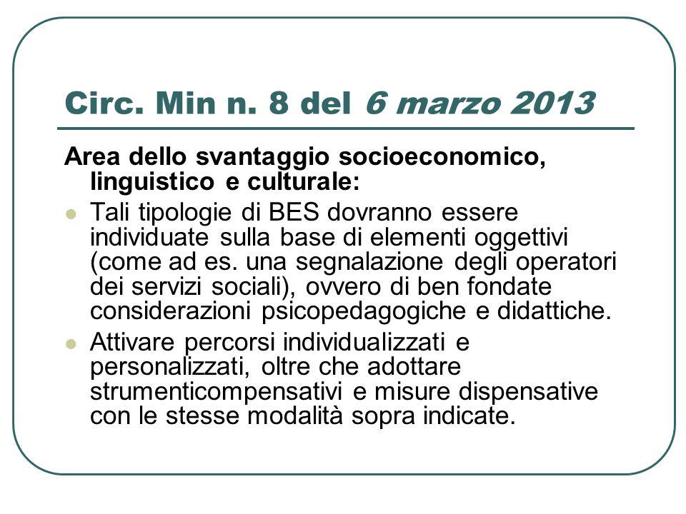 Circ. Min n. 8 del 6 marzo 2013 Area dello svantaggio socioeconomico, linguistico e culturale:
