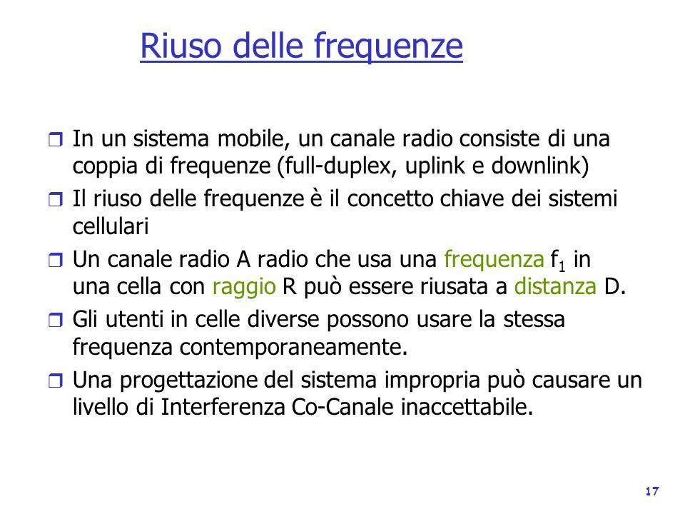 Riuso delle frequenze In un sistema mobile, un canale radio consiste di una coppia di frequenze (full-duplex, uplink e downlink)