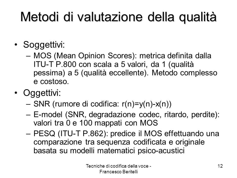 Metodi di valutazione della qualità