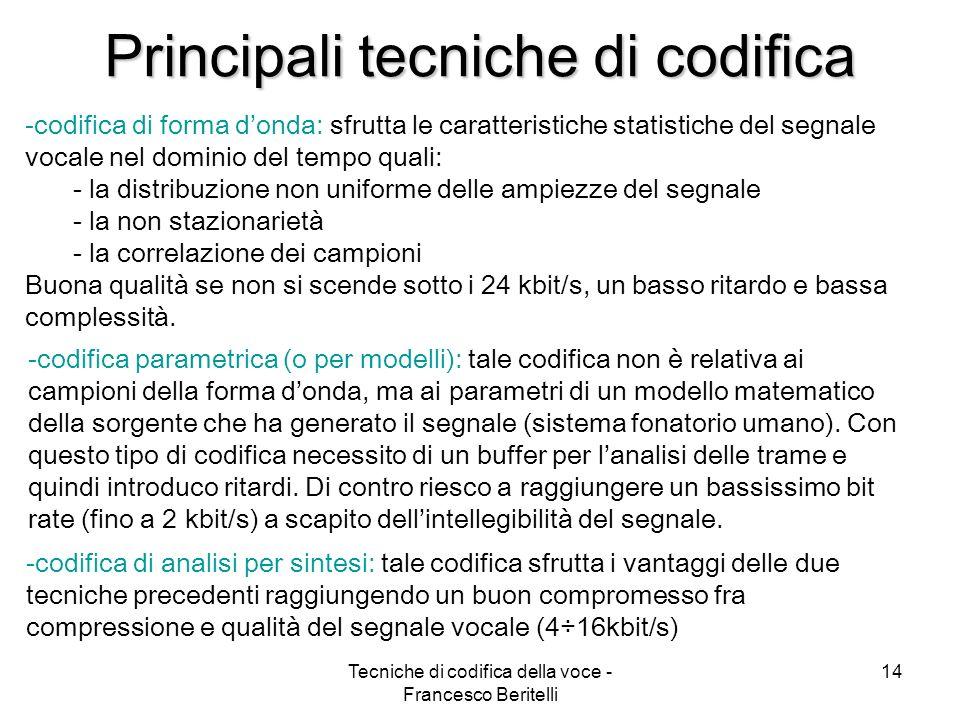 Tecniche di codifica della voce - Francesco Beritelli