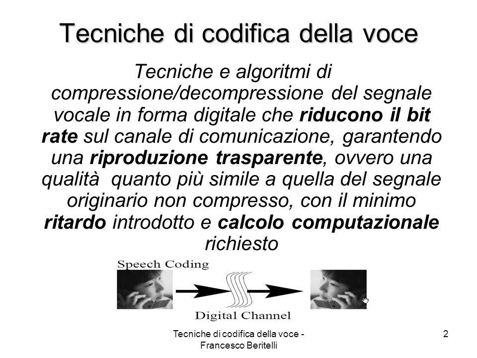 Tecniche di codifica della voce