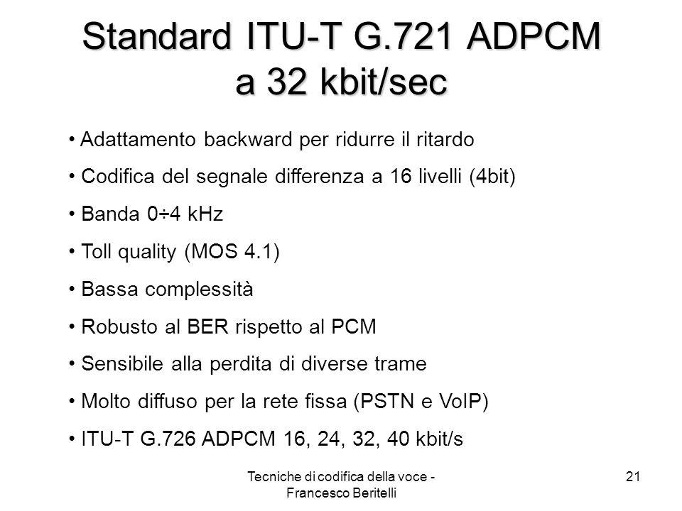 Standard ITU-T G.721 ADPCM a 32 kbit/sec