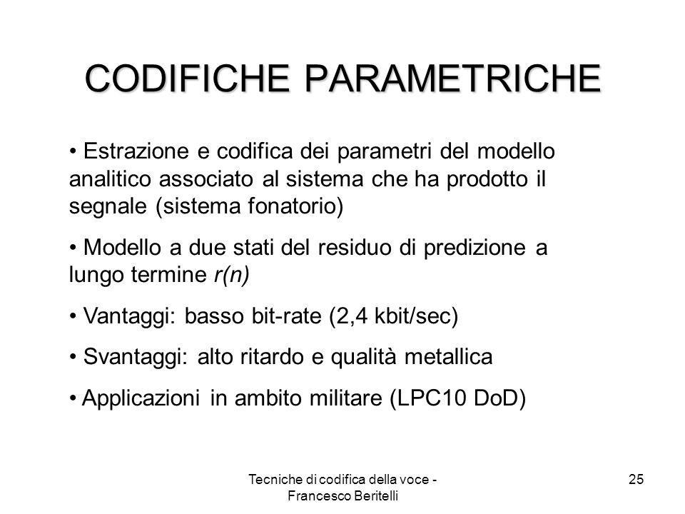 CODIFICHE PARAMETRICHE