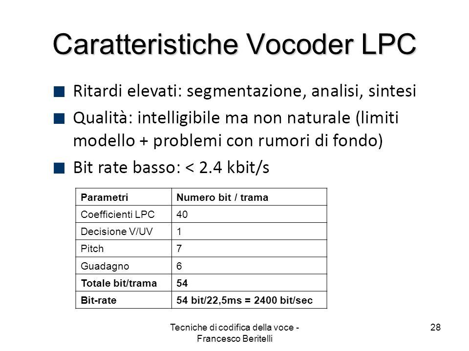 Caratteristiche Vocoder LPC
