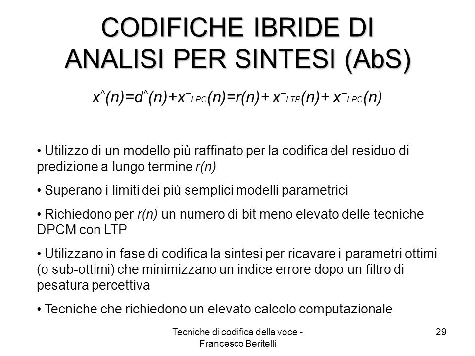 CODIFICHE IBRIDE DI ANALISI PER SINTESI (AbS)