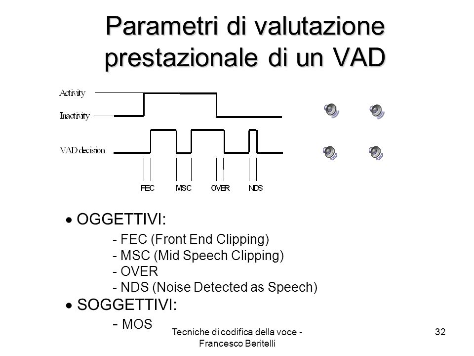 Parametri di valutazione prestazionale di un VAD