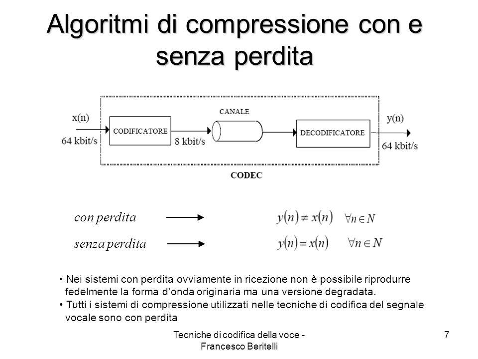 Algoritmi di compressione con e senza perdita
