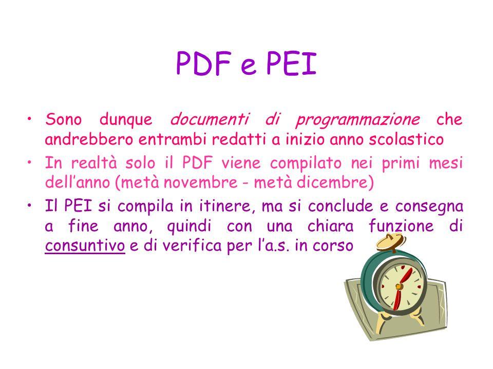 PDF e PEI Sono dunque documenti di programmazione che andrebbero entrambi redatti a inizio anno scolastico.