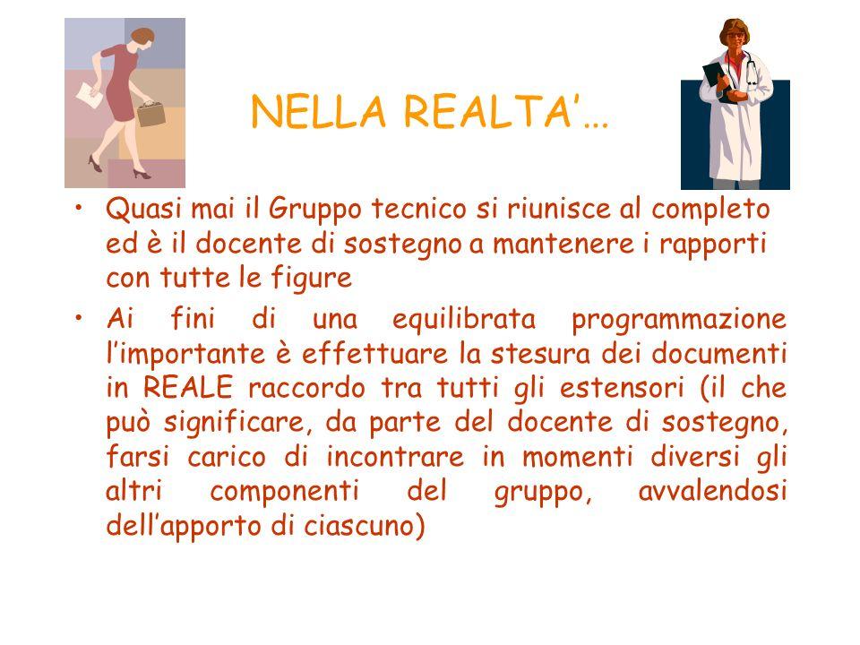 NELLA REALTA'… Quasi mai il Gruppo tecnico si riunisce al completo ed è il docente di sostegno a mantenere i rapporti con tutte le figure.