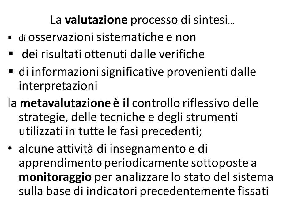 La valutazione processo di sintesi…