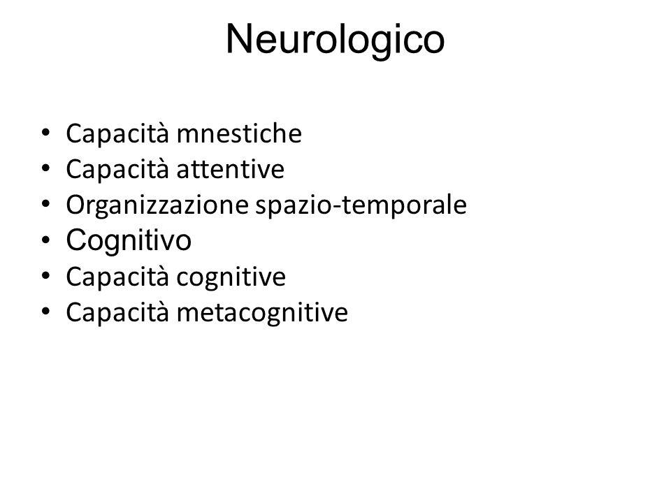 Neurologico Capacità mnestiche Capacità attentive